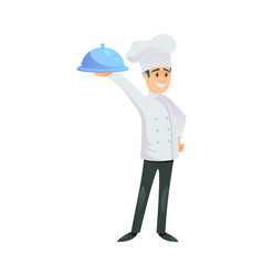 smiling chef with metal tray vector image