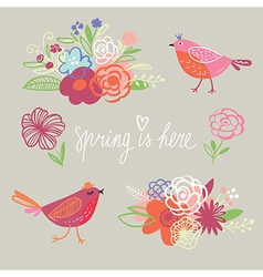 Spring collection handwritten elements vector image