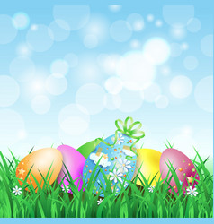 spring landscape with easter eggs vector image
