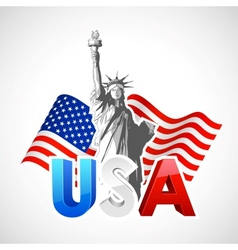statue liberty with american flag vector image