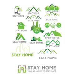 Stay home corona virus prevention home quarantin vector