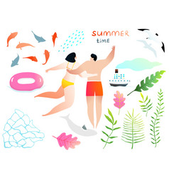 Swimming agua and people and romance hand drawn vector