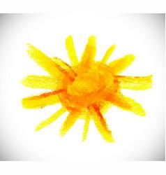 The sun hand draw watercolor vector