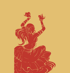 Tribal fusion bellydance dancer stencil silhouette vector