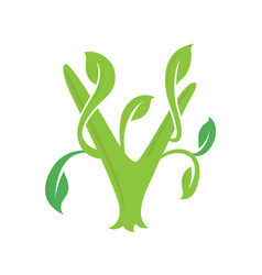 v letter ecology nature element icon vector image