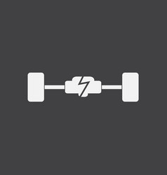 White icon on black background car chassis vector