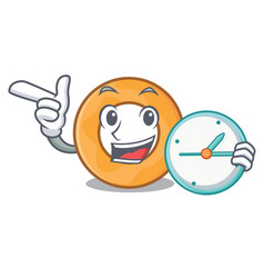 With clock onion ring character cartoon vector