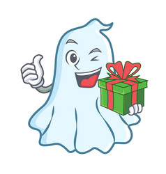 with gift cute ghost character cartoon vector image