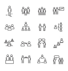 Working people and organization thin line icon vector