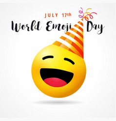 World emoji day funny smile icon in party hat vector