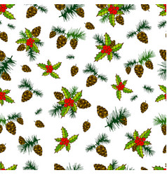 beautiful festive seamless background cones pine vector image vector image