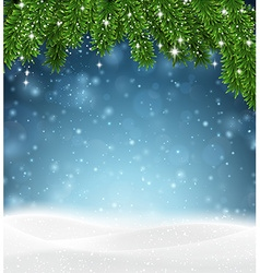 Christmas background with snow vector image