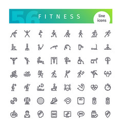 fitness line icons set vector image