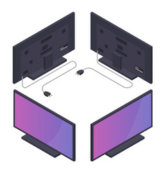 Flat or plasma tv with power cord isometric vector