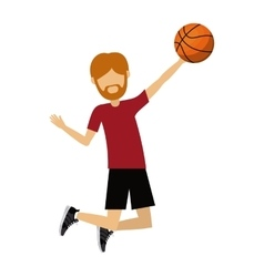 male athlete practicing basketball isolated icon vector image