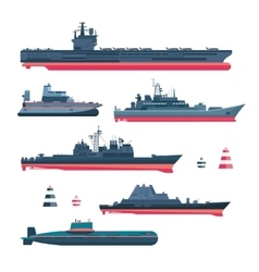 Militaristic ships icons vector image