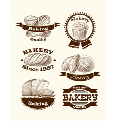 Pastry and bread signs vector image