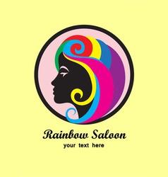 Rainbow hair saloon logo design vector image vector image