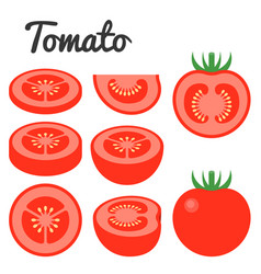 set of fruit and vegetable tomato vector image vector image
