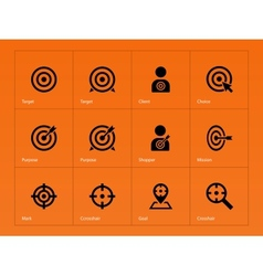 Target icons on orange background vector image vector image