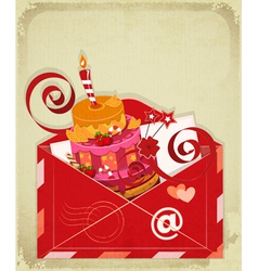 Vintage birthday card with Chocolate Berry Cake vector image