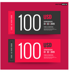 100 usd gift card template vector image vector image