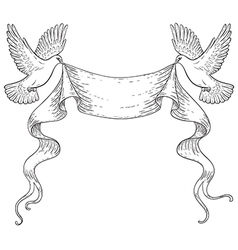doves outline vector image vector image