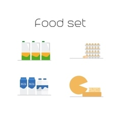 Foods market milk and eggs icons vector image