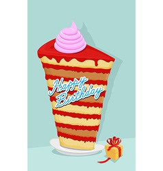 high cake birthday piece of cake on a plate Gift vector image vector image