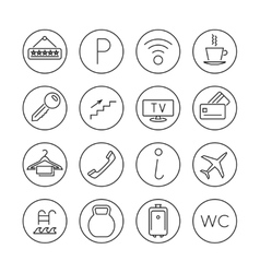 Hotel services line thin icons set vector image vector image