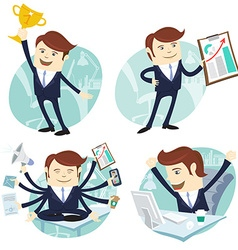Office man set showing a graph Happy worker at his vector image vector image