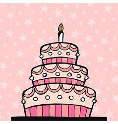 Pink birthday cake vector image