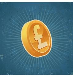 Retro Gold Pound Coin vector image