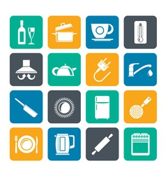 Silhouette kitchen objects and accessories icons vector image vector image