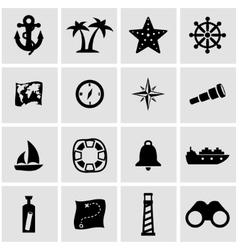 black nautical icon set vector image