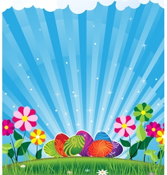 Easter eggs and shine vector image