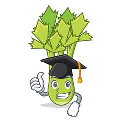 Graduation celery character cartoon style vector