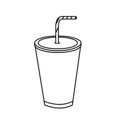 Line tasty soda drink beverage vector