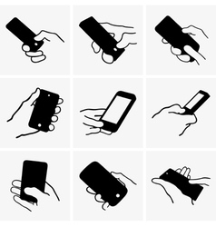 Mobile phone in hand vector image vector image