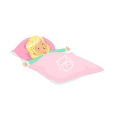 sweet blonde little girl sleeping on her bed vector image