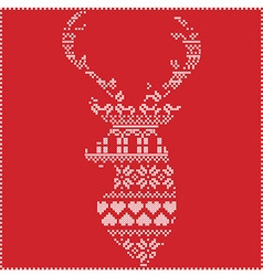 Winter pattern in reeinder head shap omn red vector image vector image
