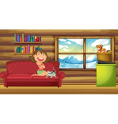 A girl and her pet sitting at the couch inside the vector image vector image