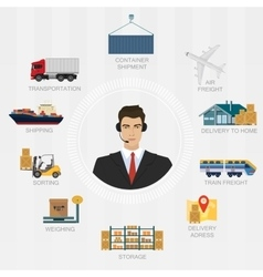 logistics manager agent concept Delivery vector image