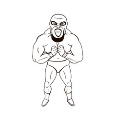 mexican wrestler in cartoon style vector image