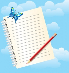 notebook and butterfly vector image