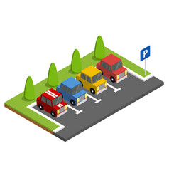parking with parked cars next to green trees vector image