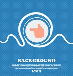 pointing hand sign icon Blue and white abstract vector image