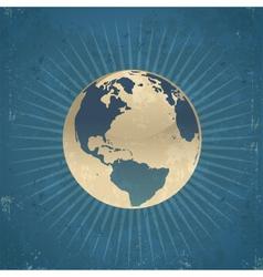 Retro planet earth vector