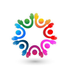 Teamwork hands up logo vector image vector image