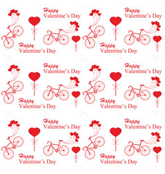 valentines day with bicycle and ballon heart vector image vector image